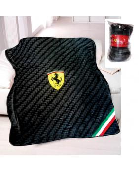 Plaid polaire carbone Ferrari noir