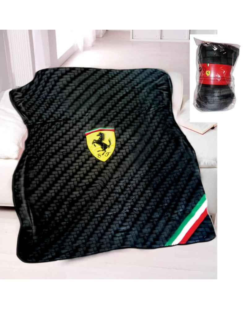 Plaid polaire carbone Ferrari noir