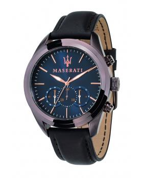 Montre aiguilles chrono Traguardo Maserati marron 45 mm