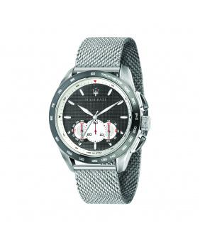 Montre aiguilles chrono Traguardo Maserati argent/noir 45 mm