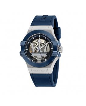Montre aiguilles auto epoca Maserati argent.bleu 42 mm