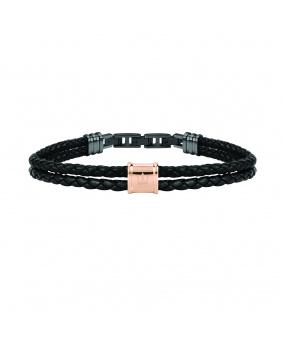 Bracelet cuir tressé Maserati noir