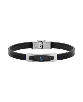 Bracelet gomme Maserati noir.argent