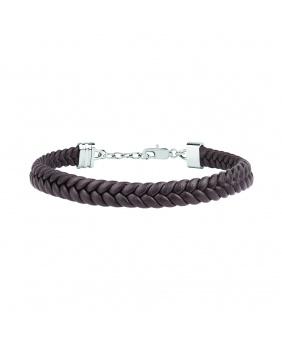 Bracelet cuir tressé Maserati marron