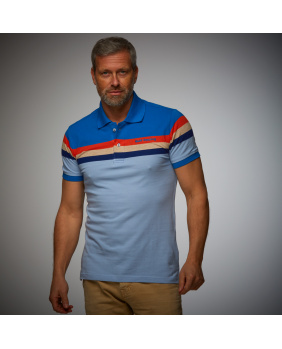 Polo Retro Stripe Gulf bleu ciel