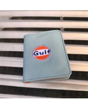 Portefeuille cuir logo vintage Gulf bleu ciel