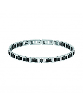 Bracelet ceramic Masérati argent-noir