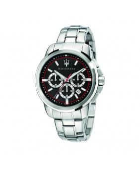 Montre aiguilles chrono Successo Maserati argent/noir 44 mm