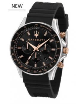 Montre aiguilles chrono Sfida Maserati noir.argent 44 mm