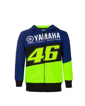 Sweat zippé enfant VR46 Yamaha jaune et bleu