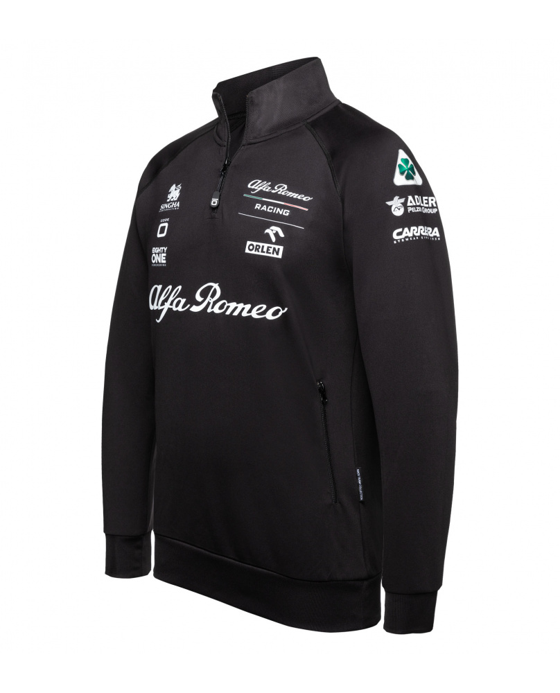 Sweatshirt Alfa Romeo zip noir et blanc orlen