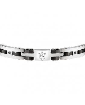Bracelet acier céramique Maserati noir-argent