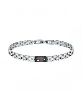 Bracelet acier diamant Maserati rose-noir-argent