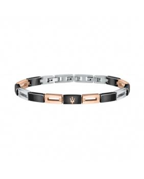 Bracelet acier céramique Maserati rose-noir-argent