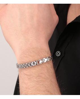Bracelet acier Maserati noir-argent