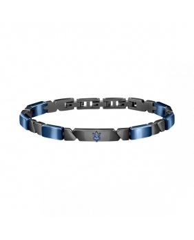 Bracelet acier céramique Maserati bleu-anthracite