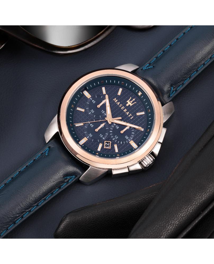 Montre aiguilles Successo Maserati bleu 44 mm
